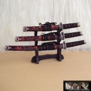 3 Red Mini Samurai Sword  Letter Openers & Stand